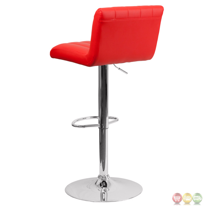 Contemporary Red Vinyl Adjustable Height Barstool With