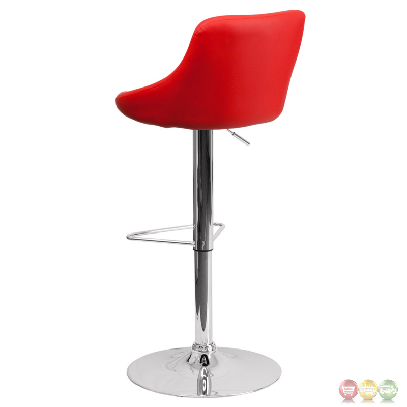 Contemporary Red Vinyl Bucket Seat Adjustable Height