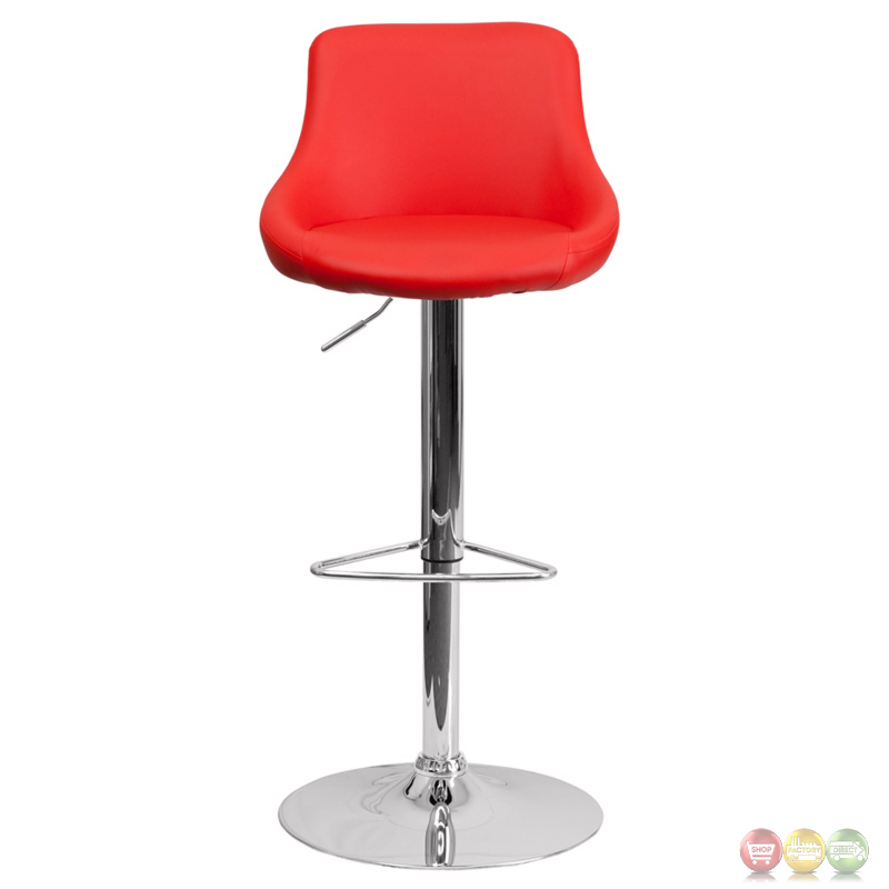 Contemporary Red Vinyl Bucket Seat Adjustable Height  : contemporary red vinyl bucket seat adjustable height barstool with chrome base 9 from shopfactorydirect.com size 800 x 800 jpeg 78kB