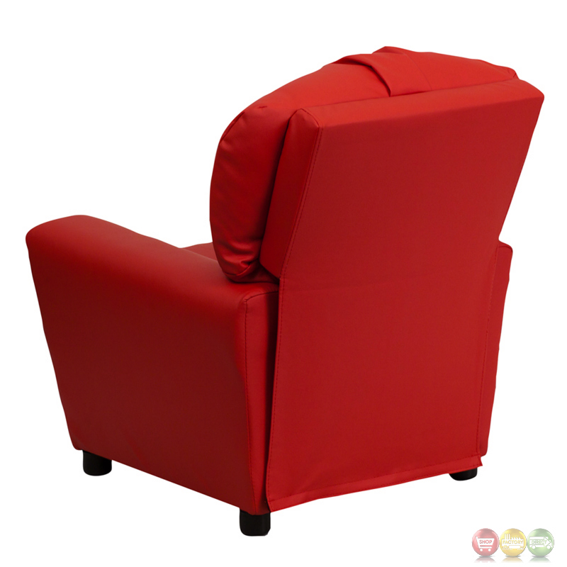 Contemporary Red Vinyl Kids Recliner With Cup Holder Bt