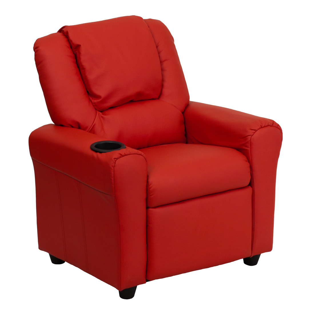 Contemporary red vinyl kids recliner with cup holder and for Kids recliner chair