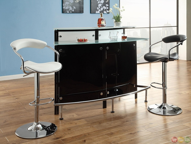Contemporary Set of 2 Chrome Adjustable Bar Stools