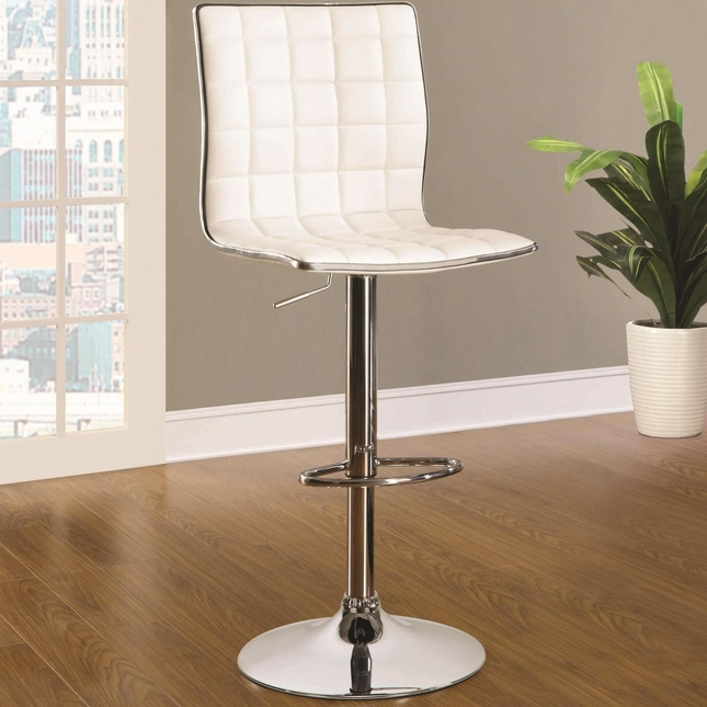 Contemporary Set of 2 Waffle Adjustable Height Chrome Bar Stools