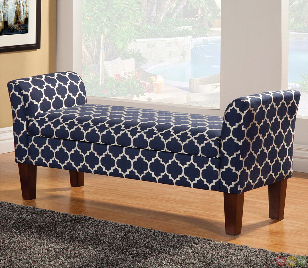Contemporary Tapered Leg Fabric Upholstered Storage Bench