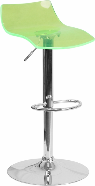 Contemporary Transparent Green Acrylic Adjustable Height Barstool W/ Chrome Base