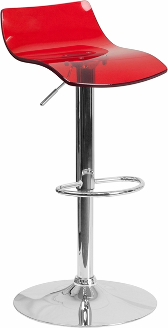 Contemporary Transparent Red Acrylic Adjustable Height Barstool With Chrome Base