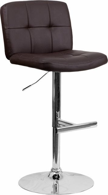 Contemporary Tufted Brown Vinyl Adjustable Height Barstool With Chrome Base