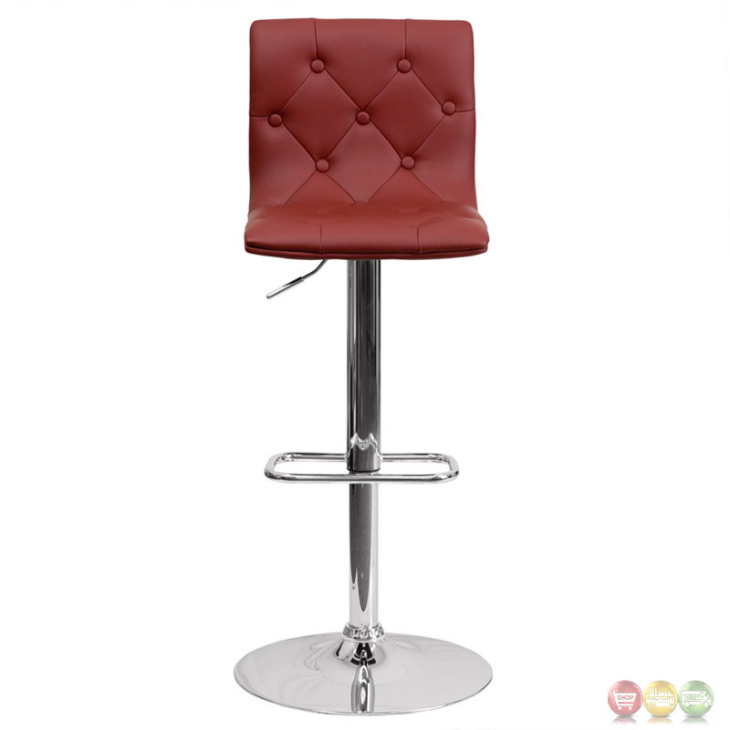 Contemporary Tufted Burgundy Vinyl Adjustable Height