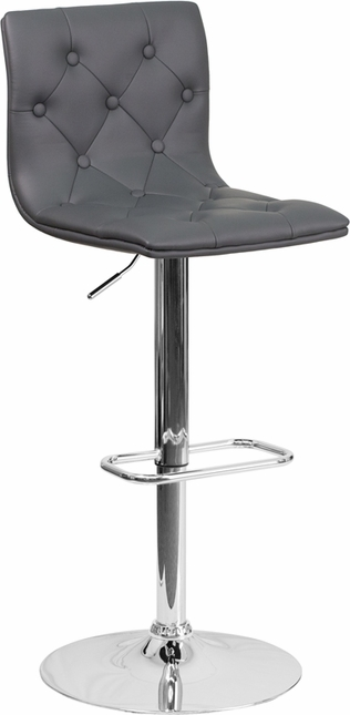 Contemporary Tufted Gray Vinyl Adjustable Height Barstool With Chrome Base