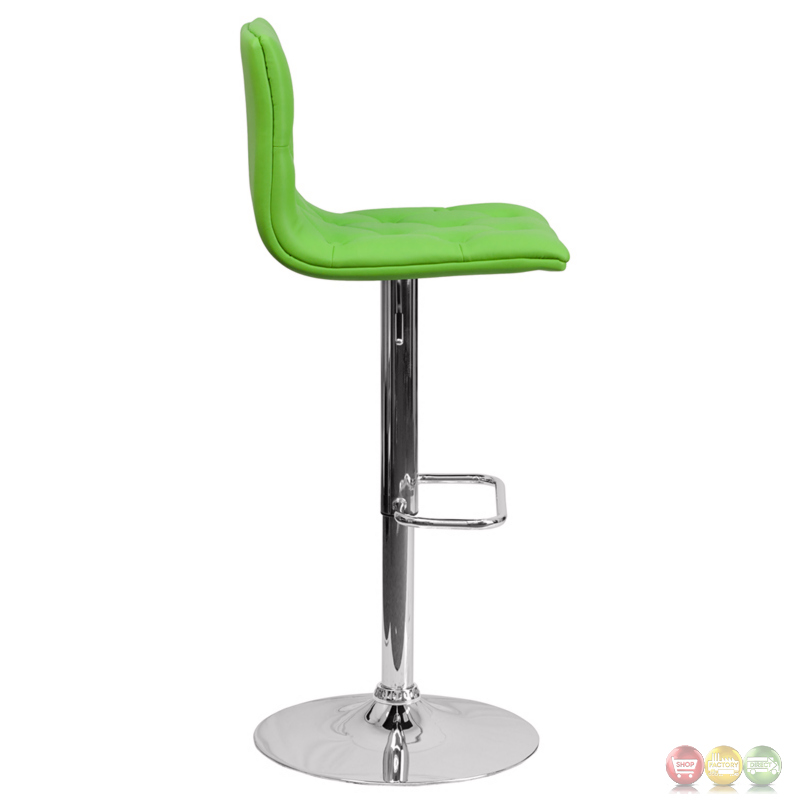 Contemporary Tufted Green Vinyl Adjustable Height Barstool