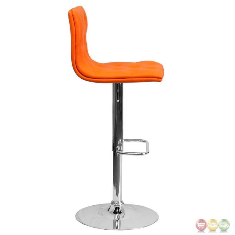 Contemporary Tufted Orange Vinyl Adjustable Height