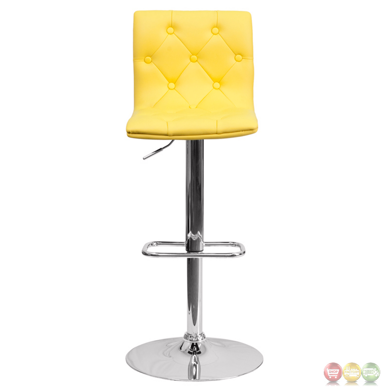 Contemporary Tufted Yellow Vinyl Adjustable Height