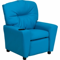 Contemporary Turquoise Vinyl Kids Recliner with Cup Holder