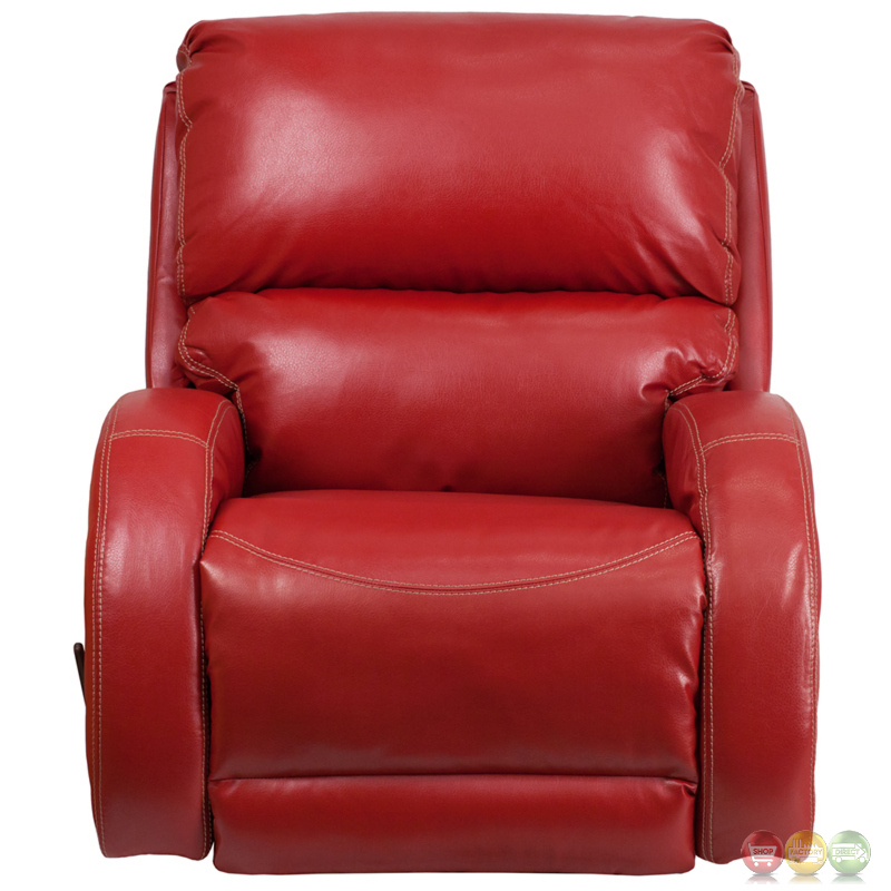 Red Leather Rocking Chair ~ Contemporary ty red leather rocker recliner
