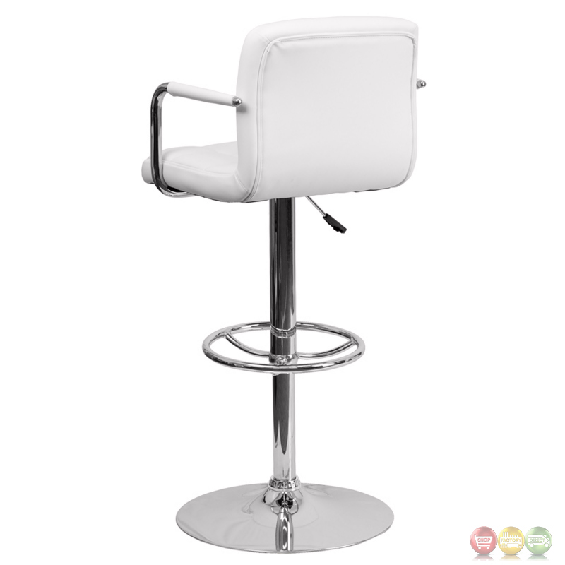 Contemporary White Quilted Vinyl Adjustable Height