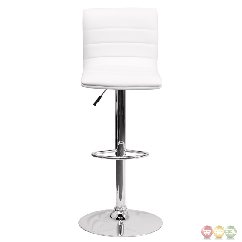 Contemporary White Vinyl Adjustable Height Barstool With