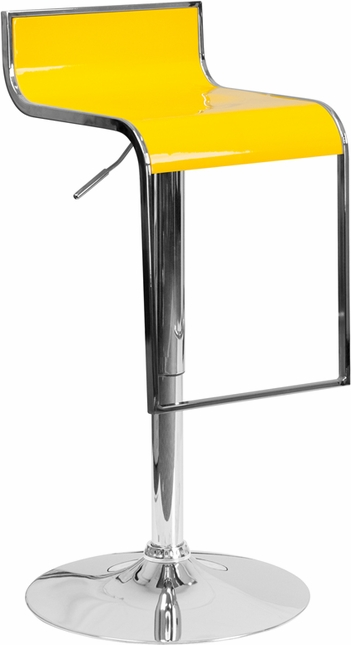 Contemporary Yellow Plastic Adjustable Height Barstool With Chrome Drop Frame