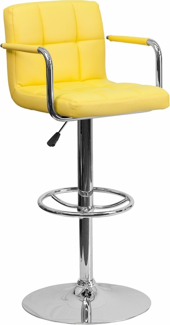 Contemporary Yellow Quilted Vinyl Adjustable Height Barstool W/ Chrome Base