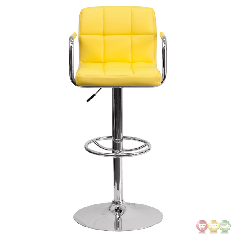 Contemporary Yellow Quilted Vinyl Adjustable Height