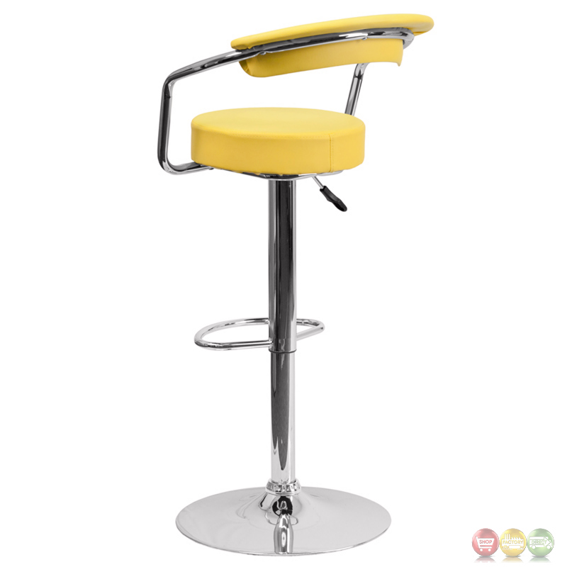 Contemporary Yellow Vinyl Adjustable Height Barstool With