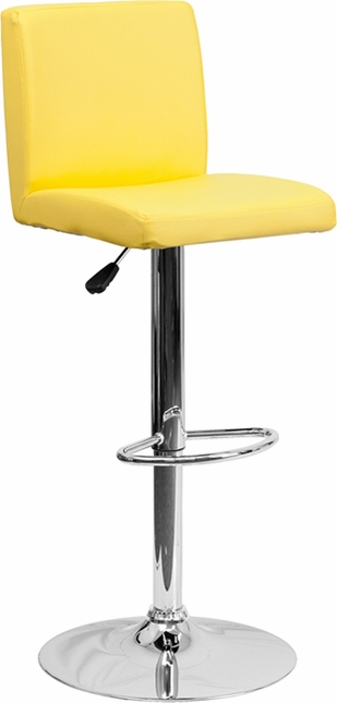 Contemporary Yellow Vinyl Adjustable Height Barstool With Chrome Base