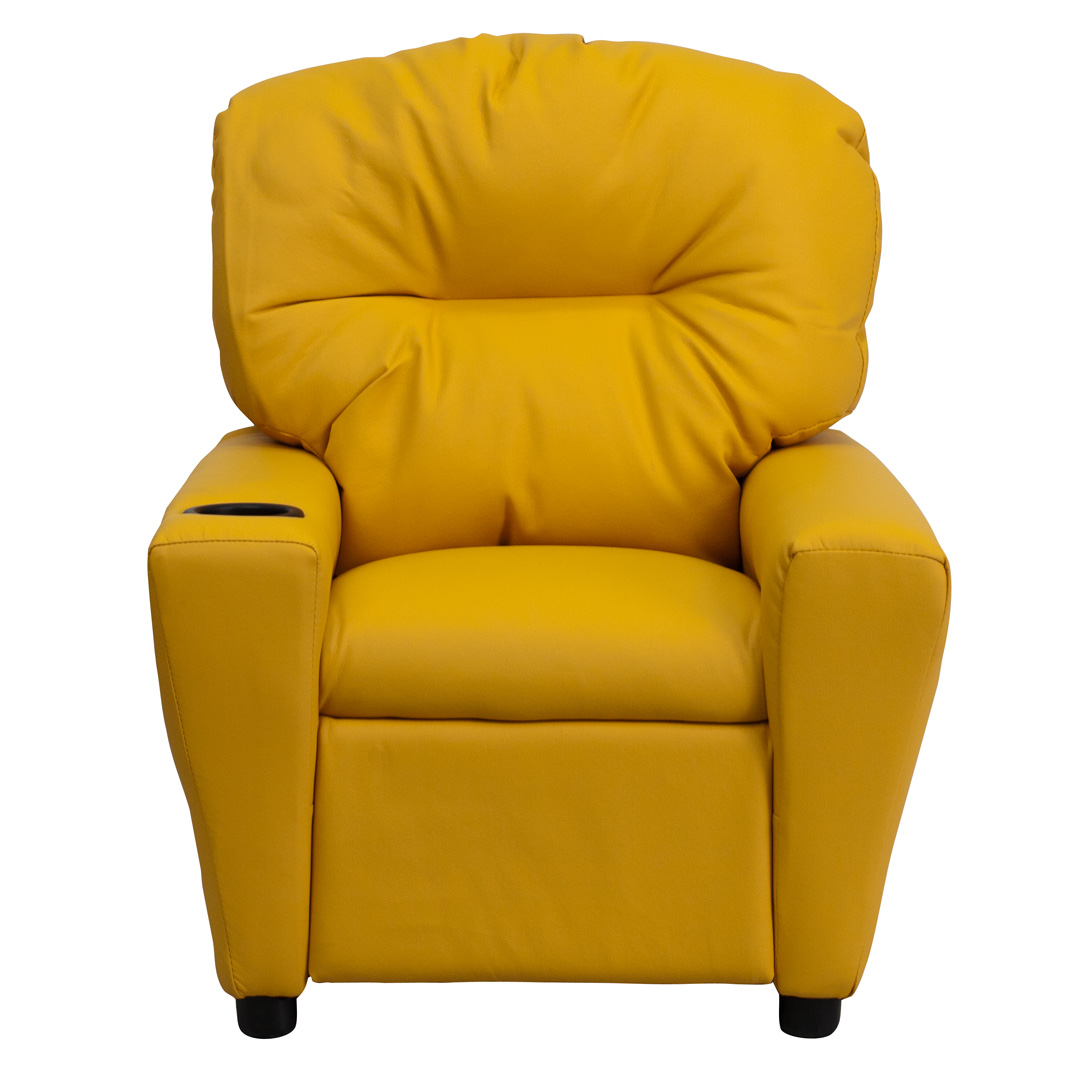 Contemporary Yellow Vinyl Kids Recliner With Cup Holder Bt