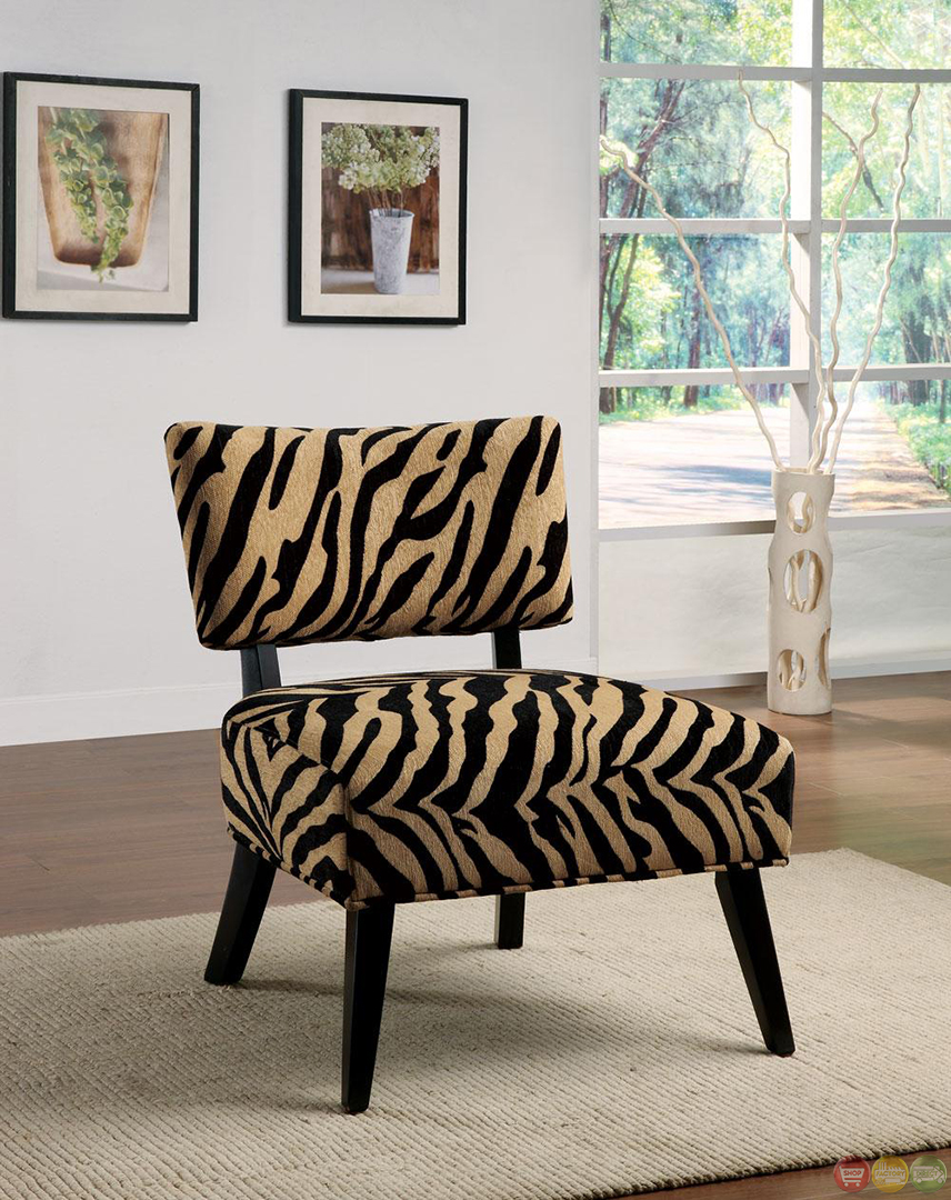 Contemporary Zebra Print Fabric Upholstered Accent Chair