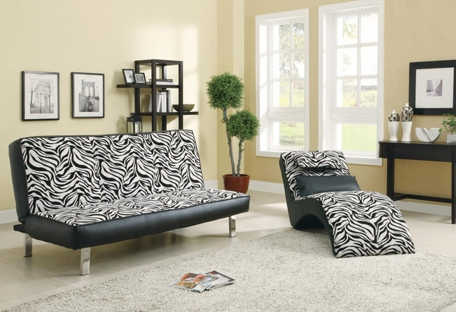 Contemporary Zebra Print Futon Sleeper Sofa Bed Coaster