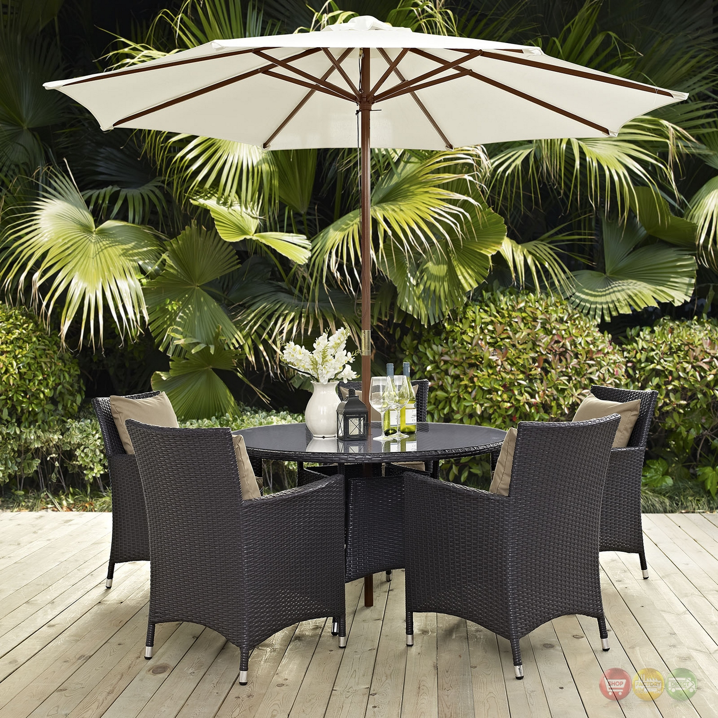 "Convene 2pc Outdoor Patio Round 47"" Dining Table ..."