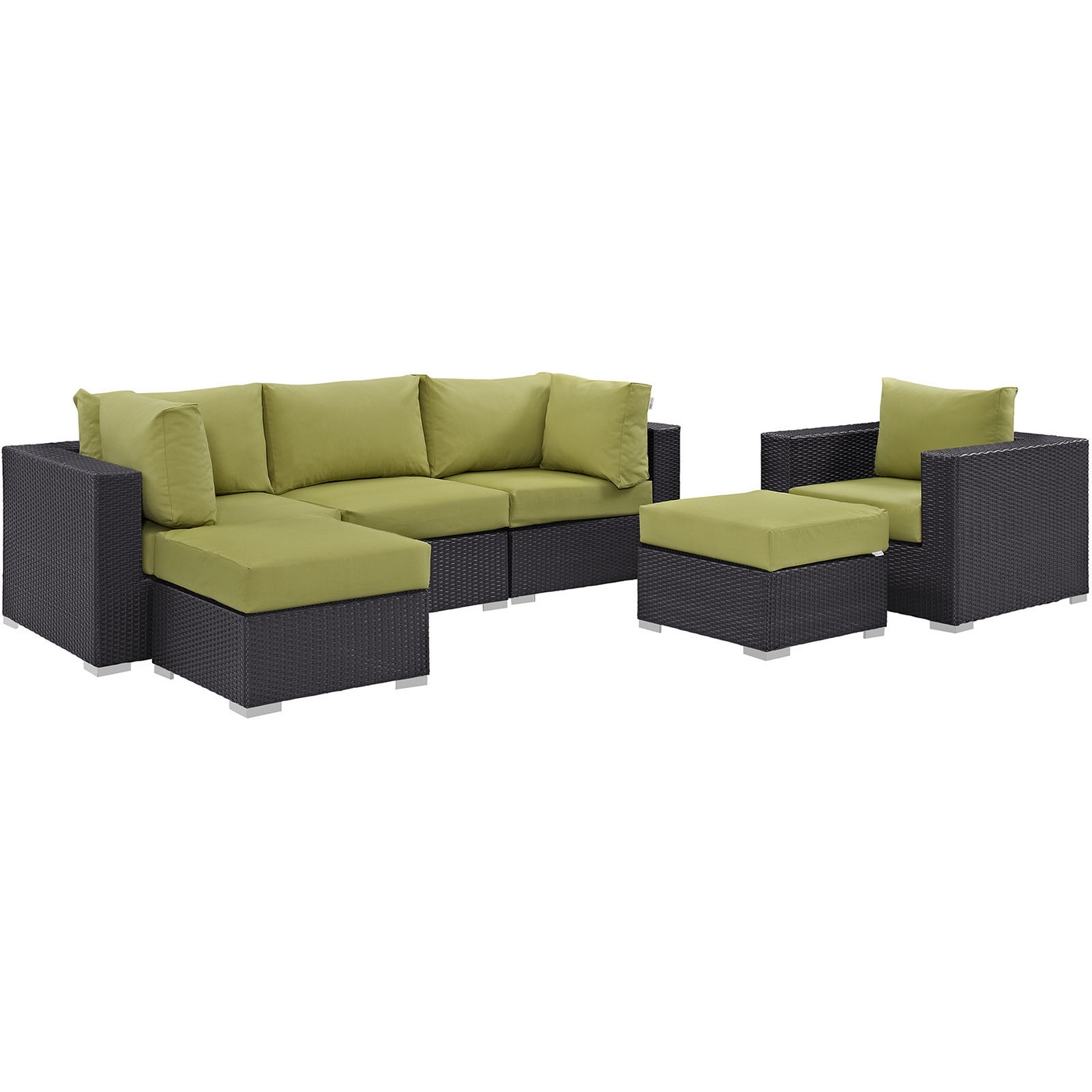 Fine Details About Convene Modern 6 Piece Outdoor Patio Rattan Sectional Sofa Set Dark Brown Green Inzonedesignstudio Interior Chair Design Inzonedesignstudiocom