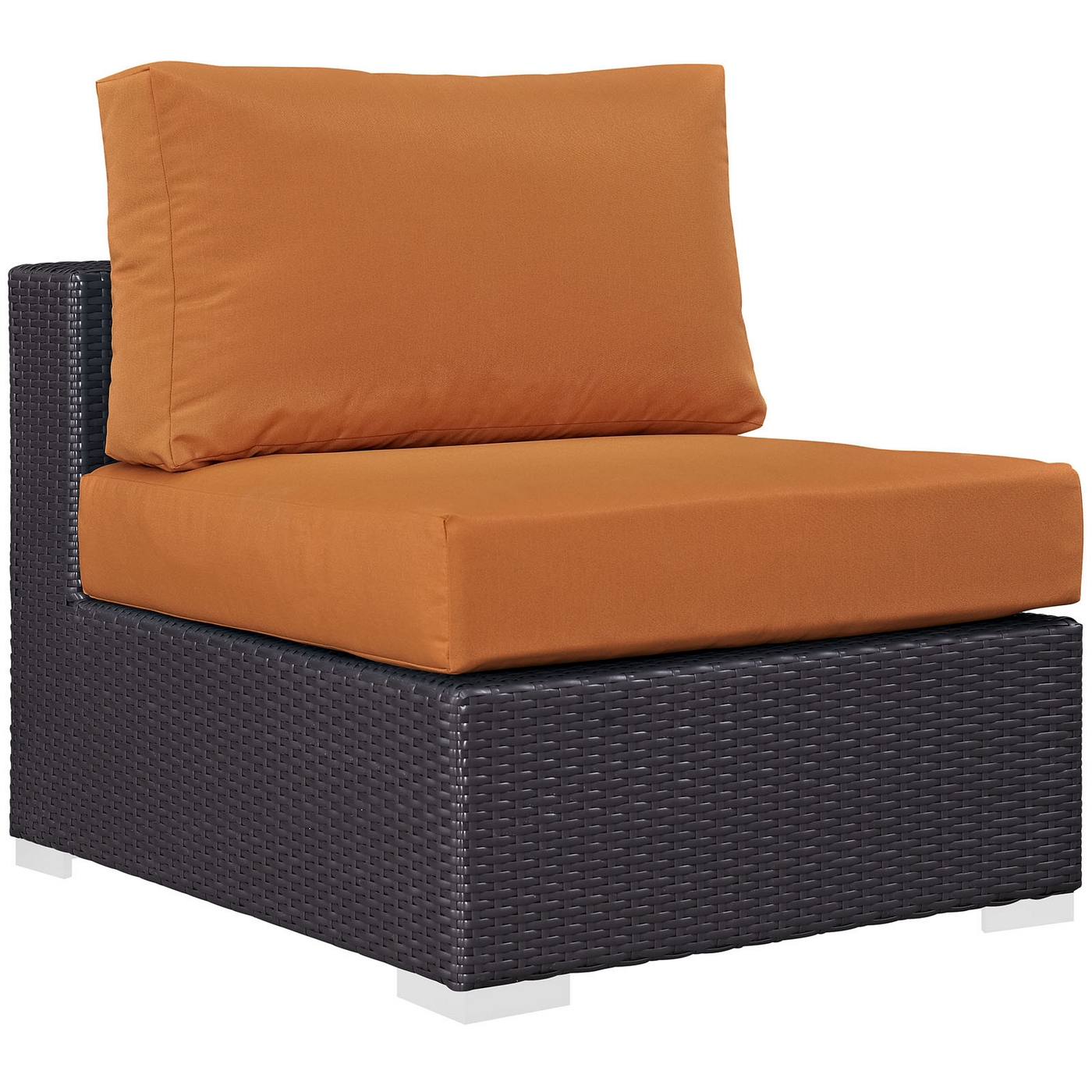 Convene Contemporary Rattan Outdoor Patio Armless Chair Cushions
