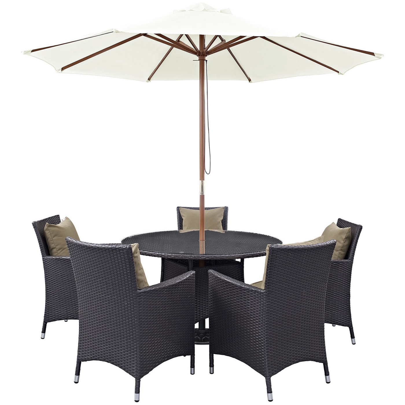 "Convene Modern 7 Piece Outdoor Patio Rattan Round 47""Dining"