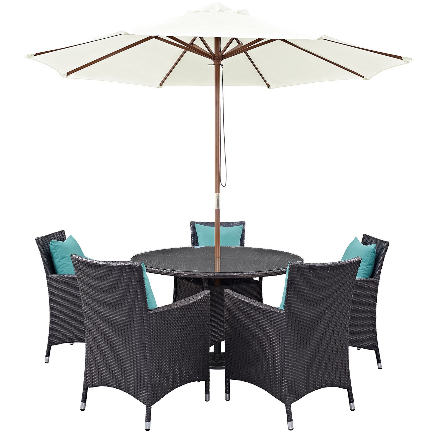 Convene Modern 7 Piece Outdoor Patio Rattan Round 47034dining