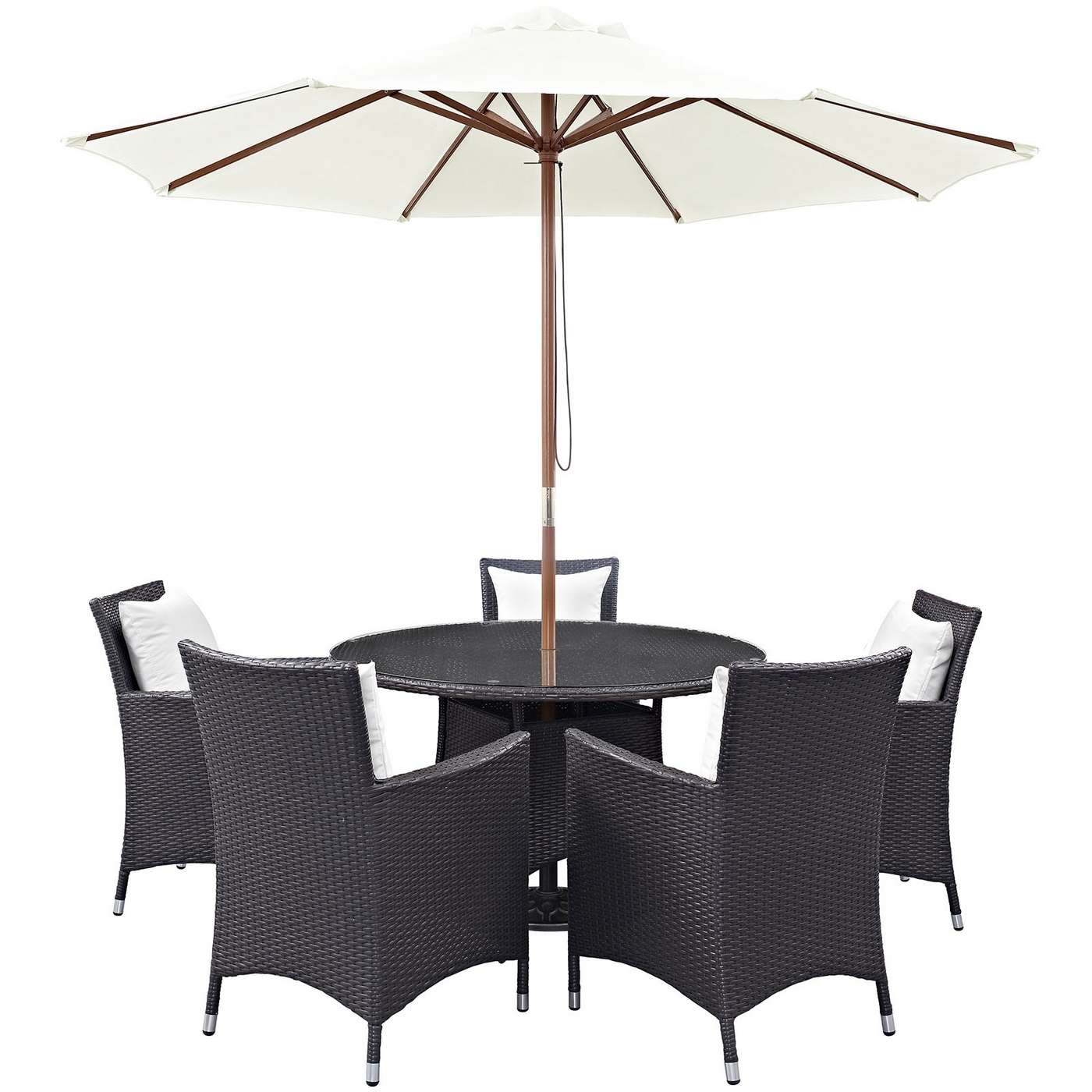 Details About New Convene Modern 7 Piece Outdoor Patio Rattan Round 47 Dining Table Set White