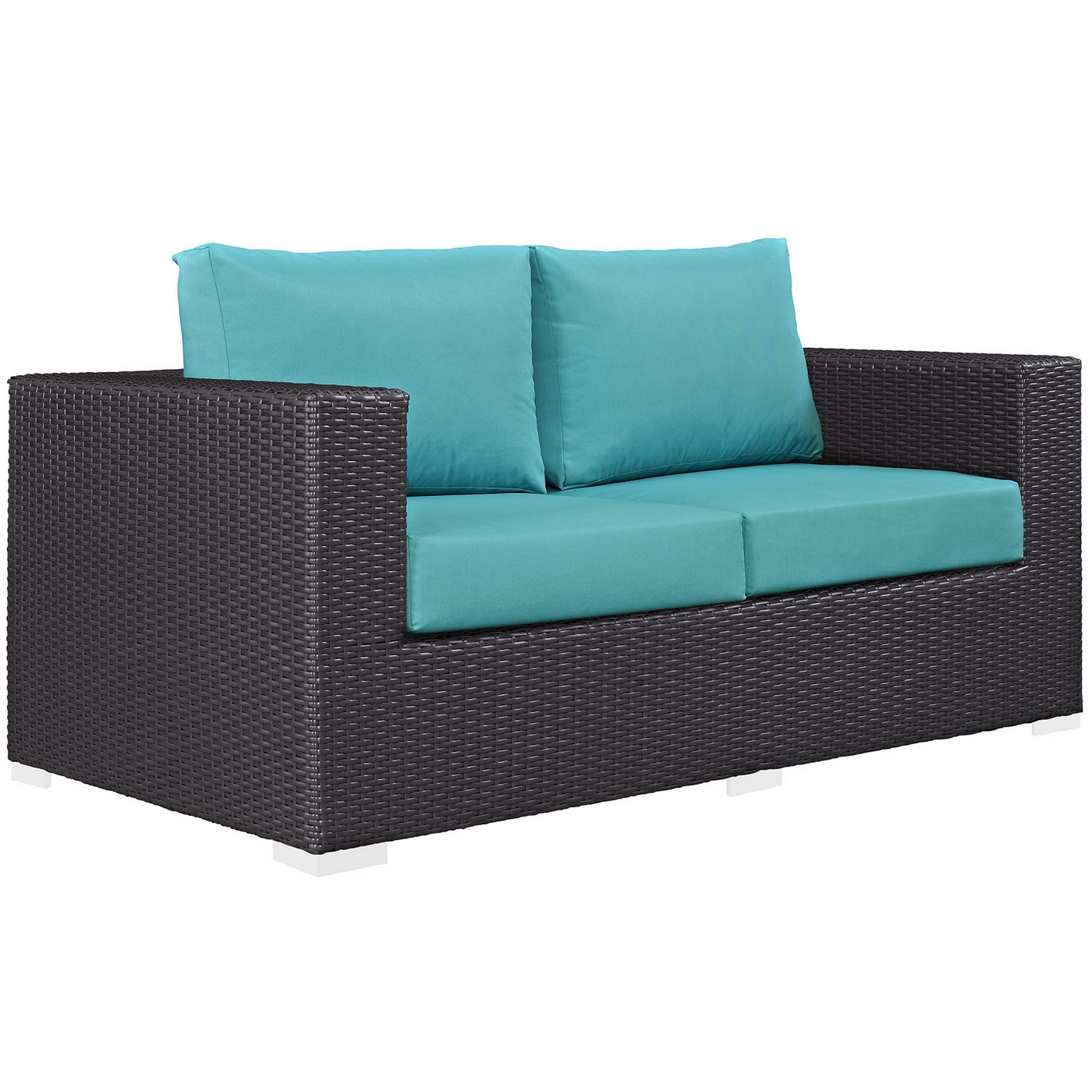 Convene modern rattan outdoor patio loveseat w cushions espresso turquoise Patio loveseat cushion