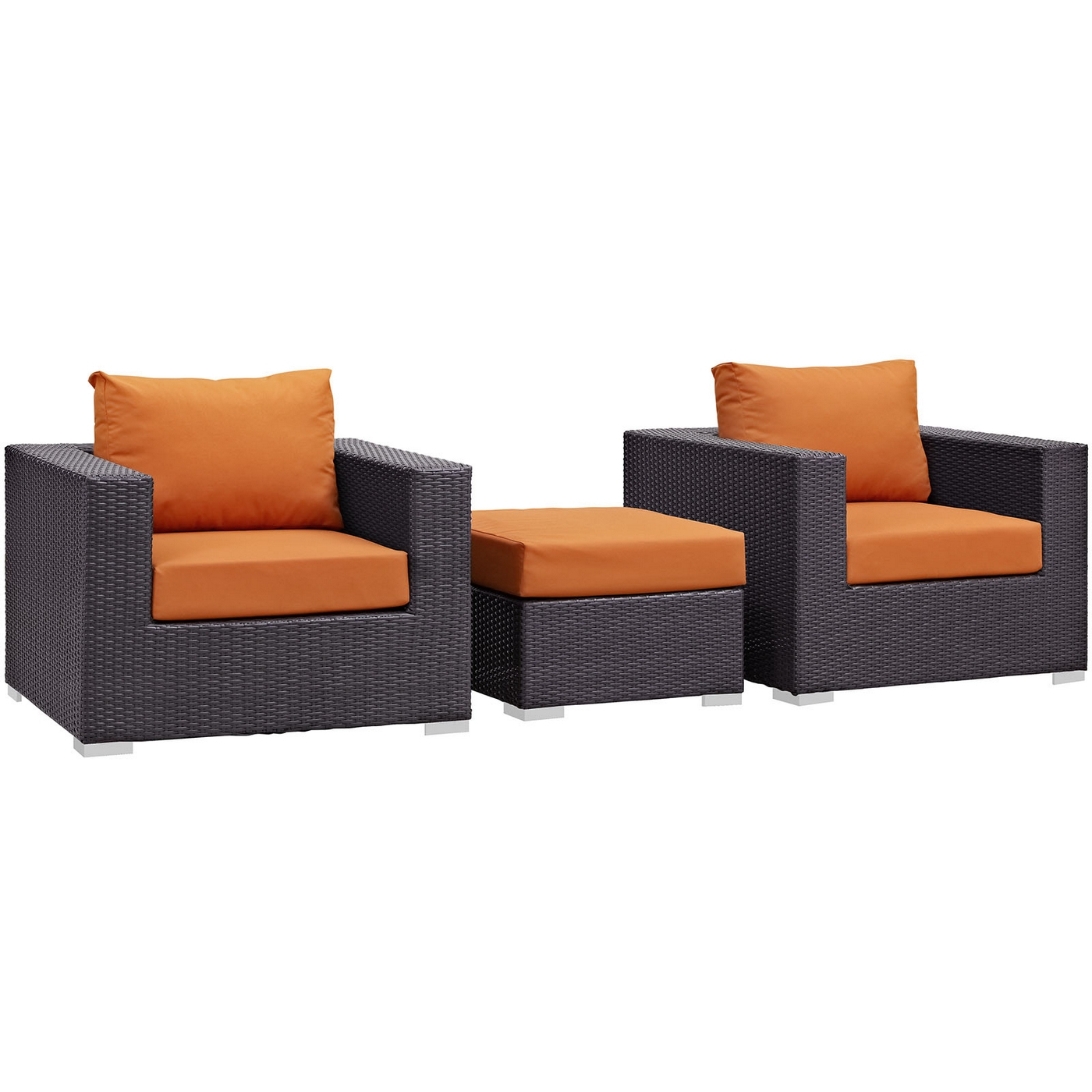 Convene Modular 3pc Rattan Outdoor Patio Sofa Set With Cushions Espresso Orange