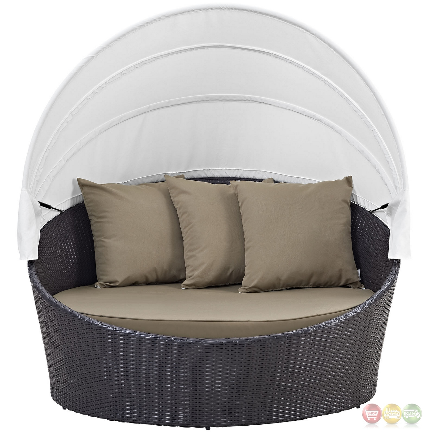 Convene Modular Rattan Outdoor Patio Canopy Daybed With