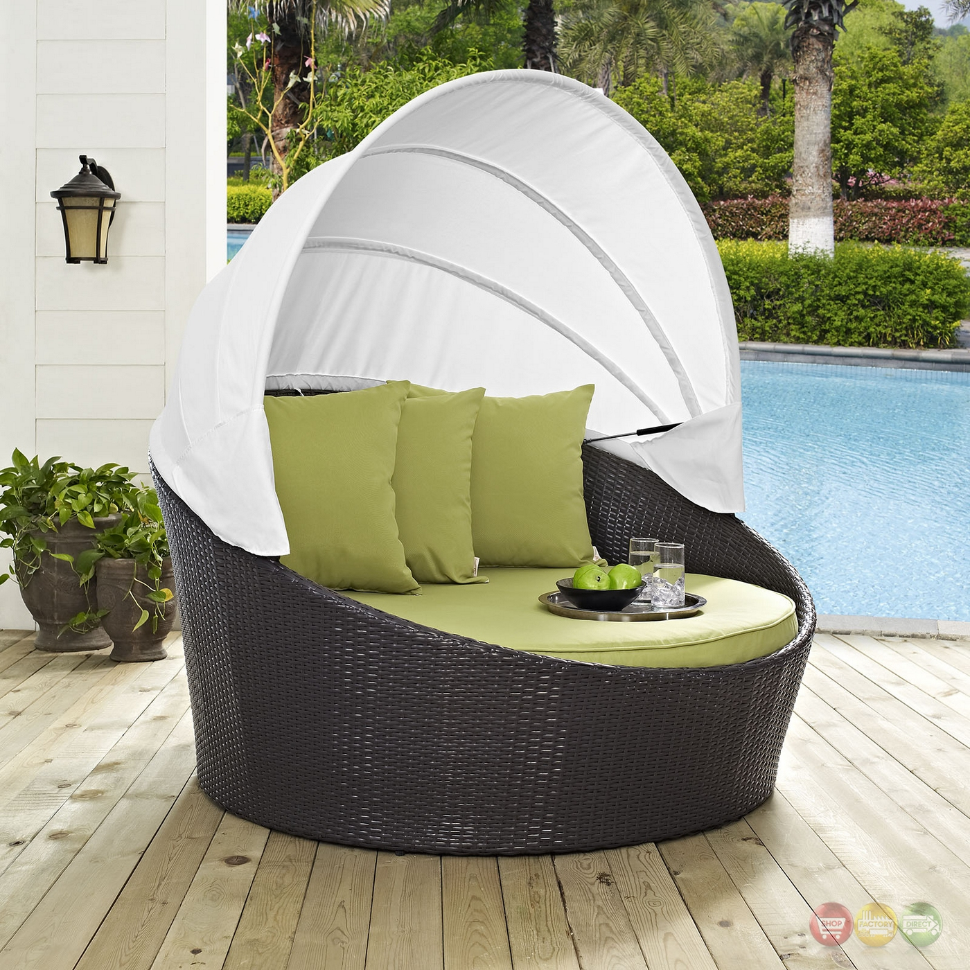 Convene Modular Rattan Outdoor Patio Canopy Daybed With ... on Belham Living Lilianna Outdoor Daybed id=87375