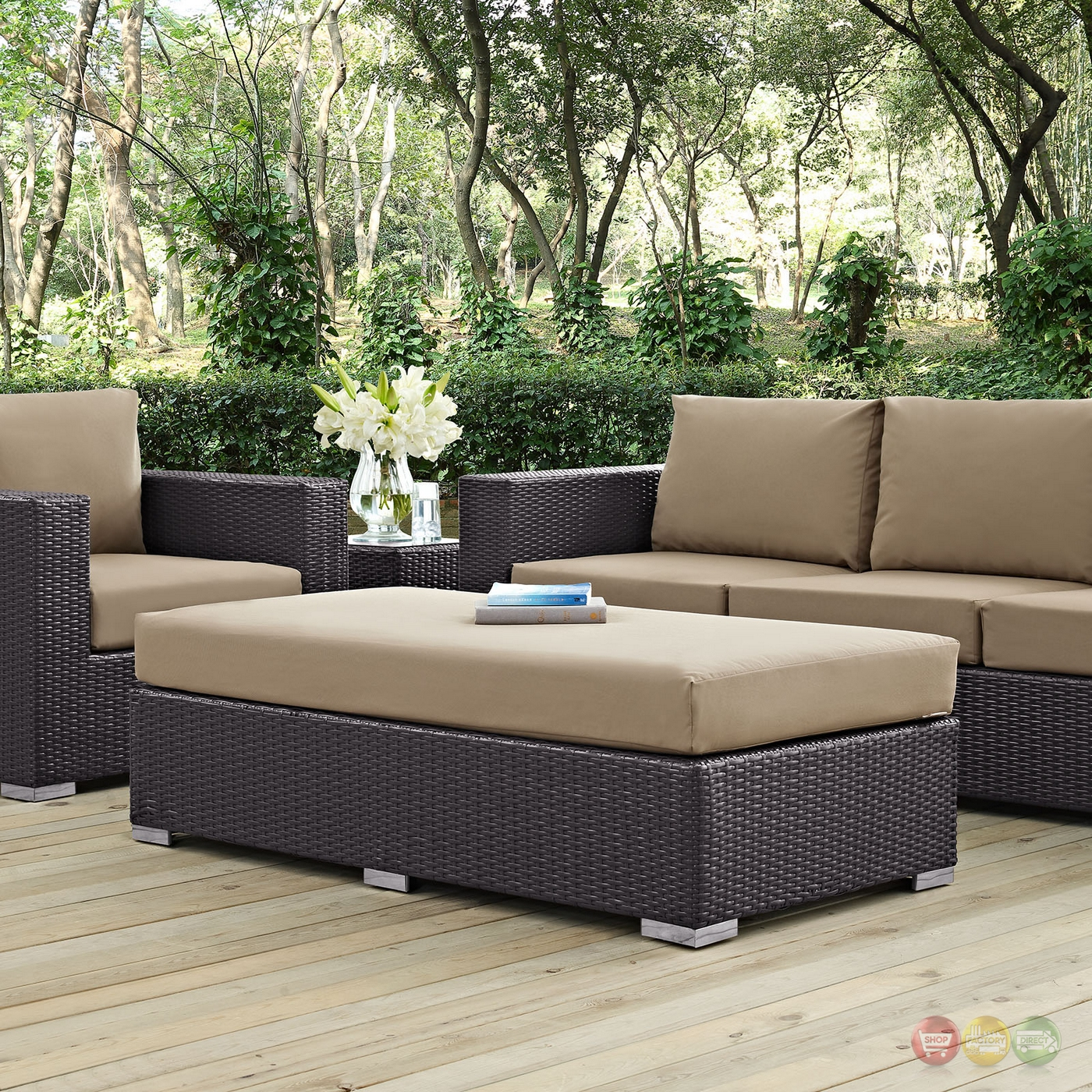 Convene Modular Rattan Outdoor Patio Chaise Lounge w ...