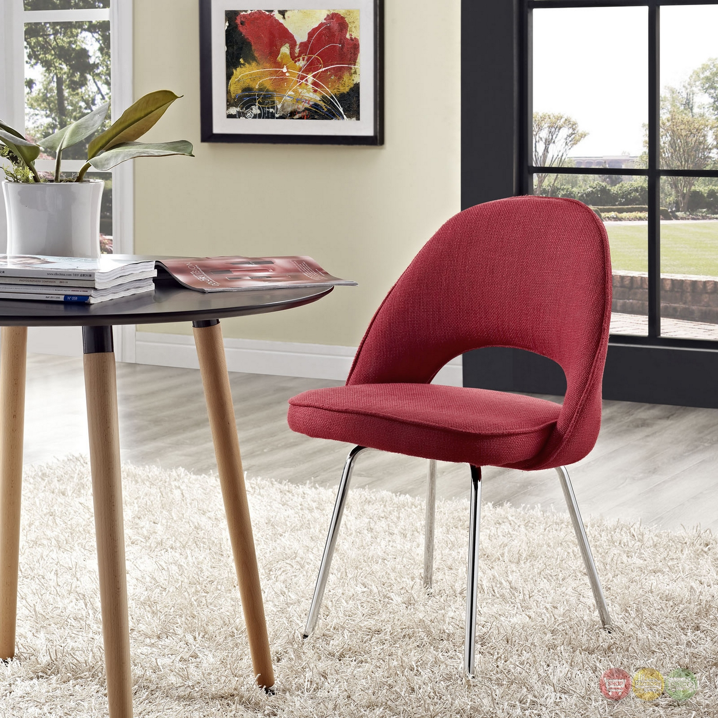 Cordelia contemporary tweed upholstered dining side chair red for Red upholstered dining chair