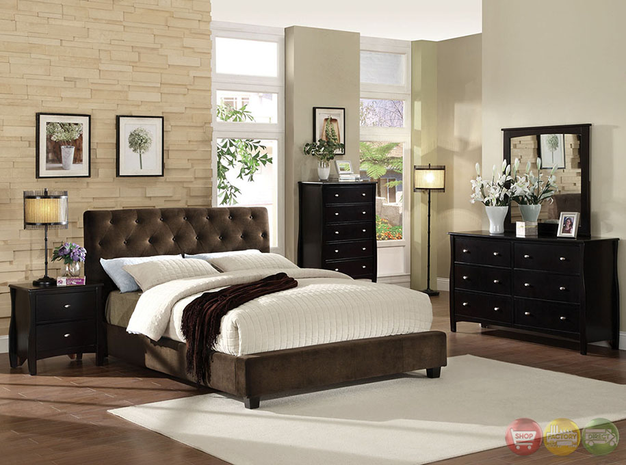 Cordell dark brown platform bedroom set with padded velvet for Unique master bedroom furniture