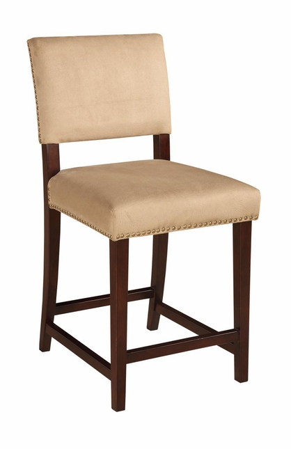 Corey Neutral Upholstered Nail Head Trim Bar Stool