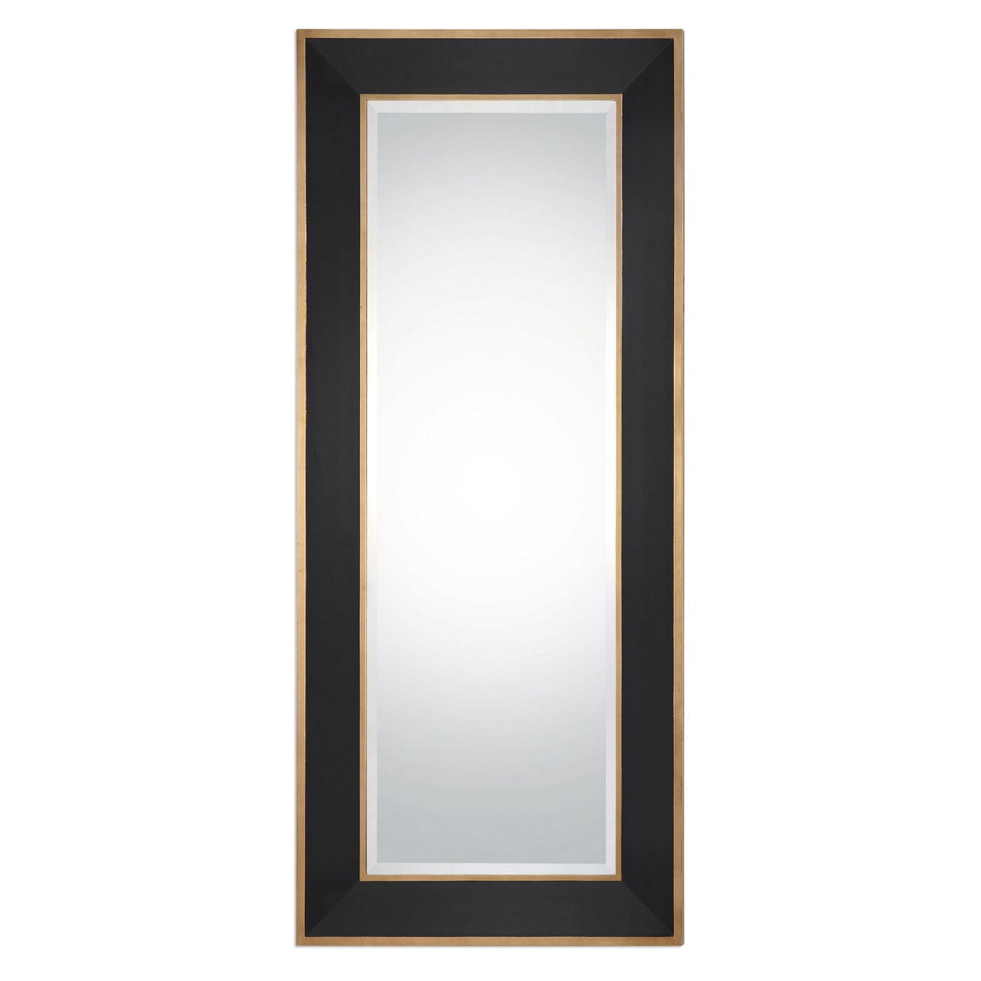 Cormor Beveled Mirror With Gloss Black Frame And Gold Trim