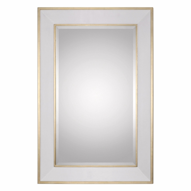 Cormor Beveled Mirror With Gloss White Frame And Gold Trim, 42\