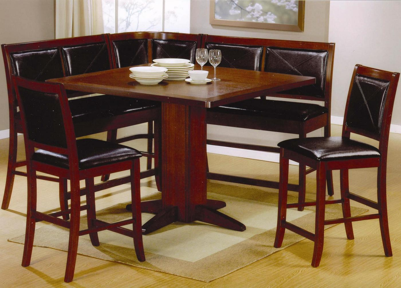 Corner unit dining set counter height 101791 101792 coaster for Corner dining table
