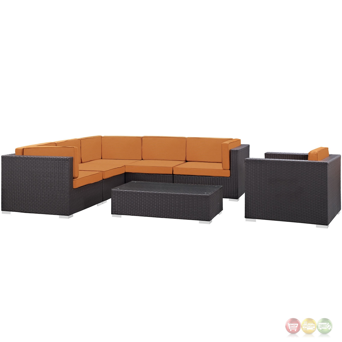 Corona Contemporary 7 Piece Rattan Outdoor Patio Sectional