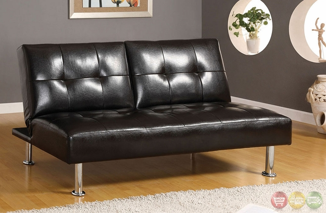 Coronado Contemporary Black Futon Sofa With Split Seat Back
