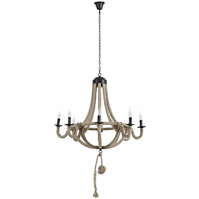 Coronet Rustic 8-bulb Chandelier With Rope Cord Over Steel Frame , Brown