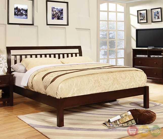 Corry dark walnut bedroom set with slatted headboard cm7923ex for American black walnut bedroom furniture