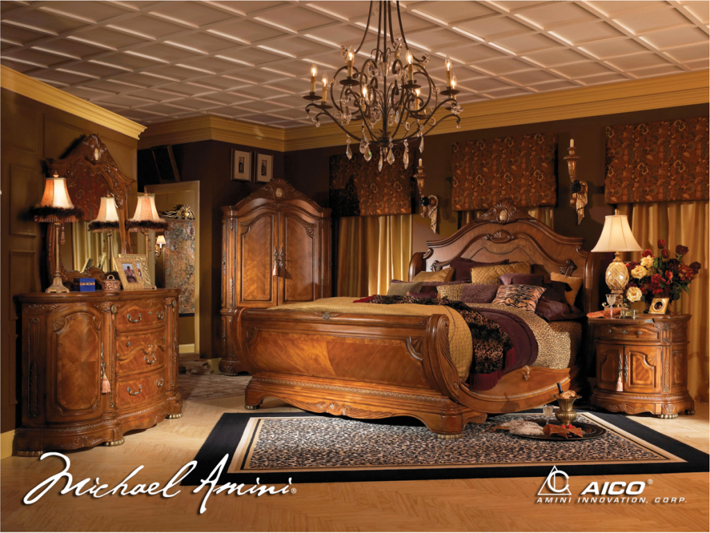 Michael amini cortina luxury bedroom furniture set honey - King size sleigh bed bedroom set ...